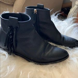 Valentino Black C-Rockee Fringe Ankle Boots